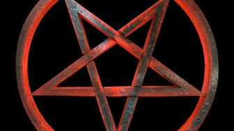 A red and amber, translucent, sinister looking inverted pentagram in a circle, made out of volcanic glass, 3d