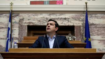 Greek Prime Minister Alexis Tsipras addresses his lawmakers during a ruling Syriza party parliamentary group session in Athens, Greece, May 6, 2016. REUTERS/Alkis Konstantinidis