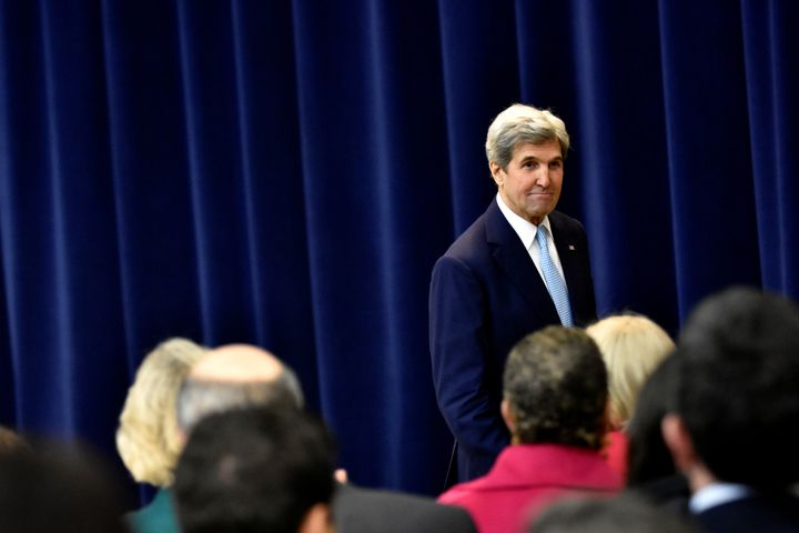 U.S. Secretary of State John Kerry exits after delivering remarks on Middle East peace at the Department of State in Washington December 28, 2016.