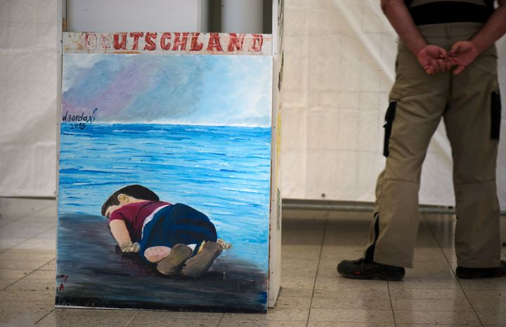 The wall painting made in 2015 by the Syrian refugee, W. Bordany, with the figure of the dead Syrian refugee child Aylan Kurd