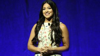 LAS VEGAS, NV - APRIL 14:  Gina Rodriguez speaks onstage as Lionsgate Invites You to a Special Presentation Highlighting Its Future Release Schedule at The Colosseum at Caesars Palace during CinemaCon, the official convention of the National Association of Theatre Owners, on April 14, 2016 in Las Vegas, Nevada.  (Photo by Michael Tran/FilmMagic)