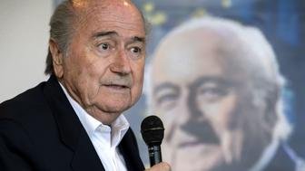 FIFA's ex-president Sepp Blatter speaks during the presentation of his biography in Zurich on April 21, 2016.  The book, entitled 'Sepp Blatter: Mission & Passion Fussball', is written by Thomas Renggli. / AFP / FABRICE COFFRINI        (Photo credit should read FABRICE COFFRINI/AFP/Getty Images)