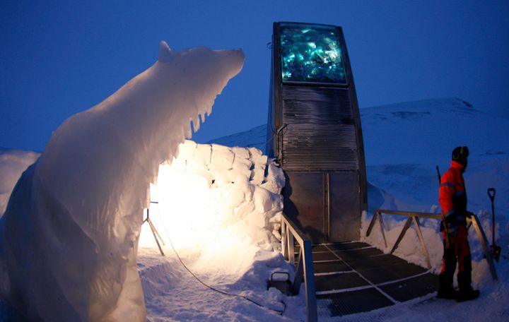A polar bear sculpture made of ice stands outside the Global Seed Vault in Longyearbyen February 25, 2008.