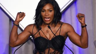 TOPSHOT - US Tennis player Serena Williams speaks after receiving the Sports Illustrated Sportsperson of the Year trophy during a ceremony in New York on December 15, 2015.  AFP PHOTO/JEWEL SAMAD / AFP / JEWEL SAMAD        (Photo credit should read JEWEL SAMAD/AFP/Getty Images)