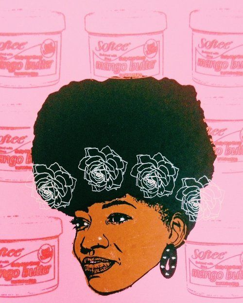 "Angela Pilgrim, ""Afro Puff ll,"" 2015, print. Pilgrim is from Patterson, New Jersey."
