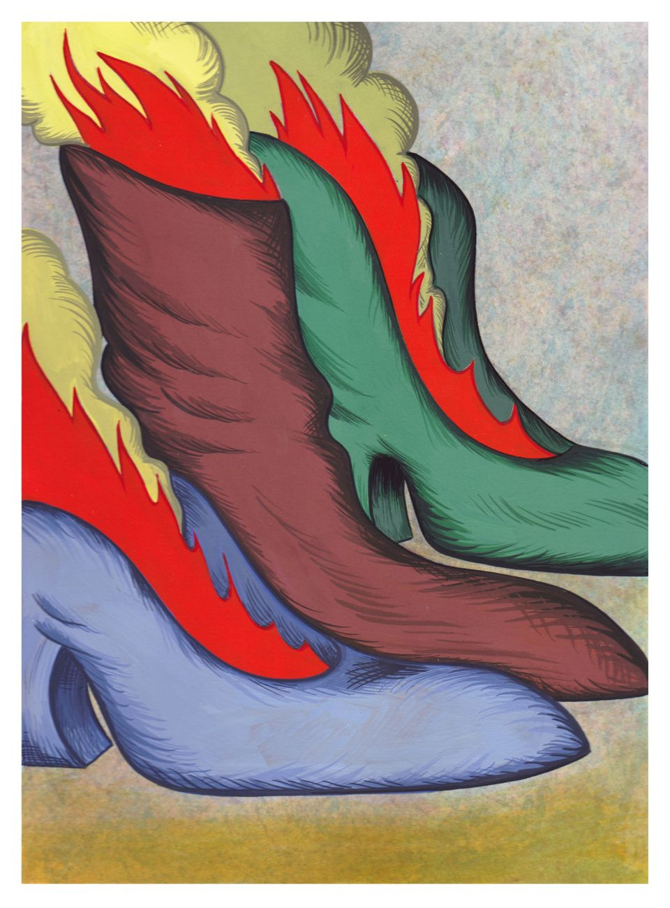 "Julie Curtiss, ""Hot Heels,"" 2015. Gouache on paper. Curtiss lives and works in Brookly, NY."