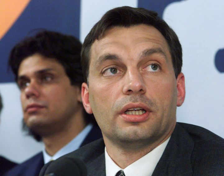 A younger Viktor Orban, the chairman of the Fidesh party speaks during the press conference at the election headquarter in Bu