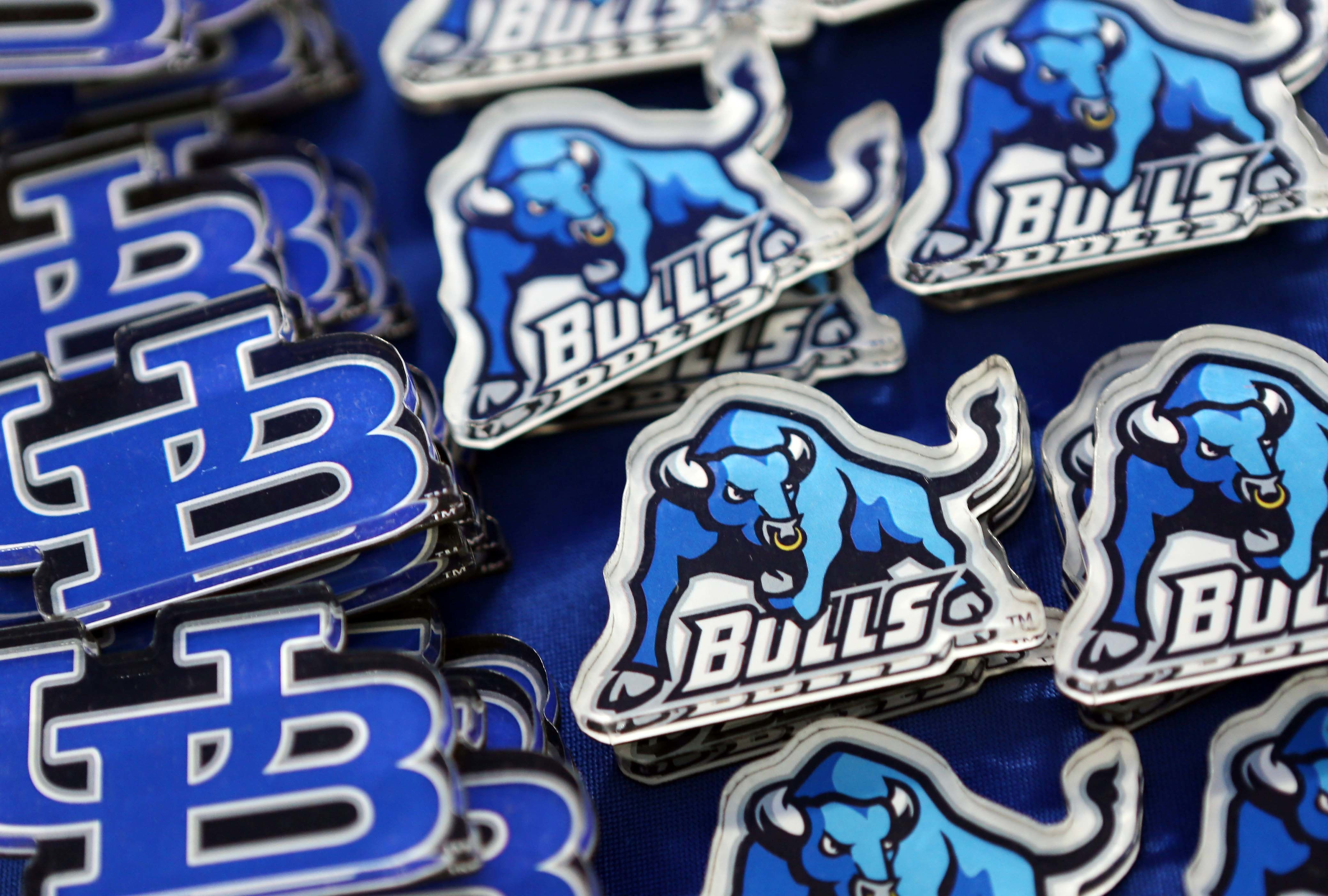 BUFFALO, NY - SEPTEMBER 12:  Buffalo Bulls pins for sale on the concourse prior to kickoff of the Baylor Bears and the Buffalo Bulls at UB Stadium on September 12, 2014 in Buffalo, New York.  (Photo by Vaughn Ridley/Getty Images)