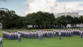 CHARLESTON, SC - AUGUST 19:  Citadel freshman cadets known as knobs stand in formation during the oath ceremony on August 19, 2013 in Charleston, South Carolina. The Citadel is a state military college which dates back to 1846.  (Photo by Richard Ellis/Getty Images)