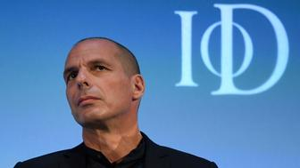 Former Greek Finance Minister Yanis Varoufakis answers questions during a panel debate at the Institute of Directors convention in London, Britain, September 27, 2016. REUTERS/Toby Melville