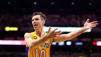 PHOENIX, AZ - MARCH 18:  Steve Nash #10 of the Los Angeles Lakers reacts to a call during the second half of the NBA game against the Phoenix Suns at US Airways Center on March 18, 2013 in Phoenix, Arizona. The Suns defeated the Lakers 99-76.  NOTE TO USER: User expressly acknowledges and agrees that, by downloading and or using this photograph, User is consenting to the terms and conditions of the Getty Images License Agreement.  (Photo by Christian Petersen/Getty Images)
