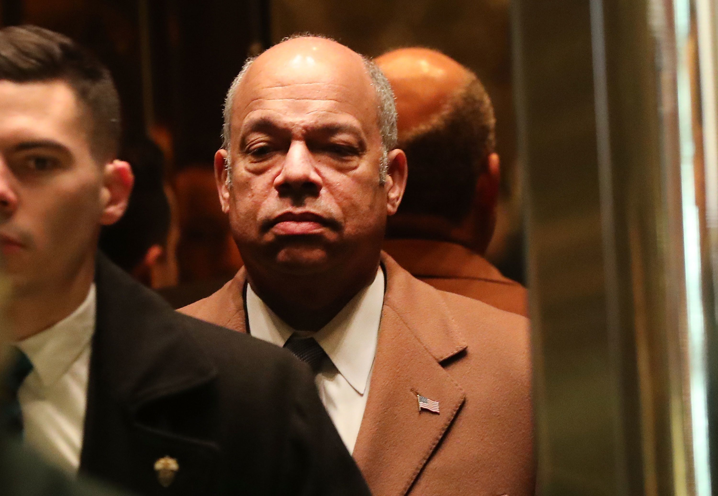 Homeland Security Secretary Jeh Johnson arrives at Trump Tower on December 16, 2016 to meet with President-Elect Donald Trump