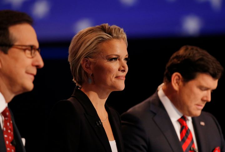 Megyn Kelly moderated a GOP primary debate in January 2015 along with Chris Wallace (left) and Bret Baier.