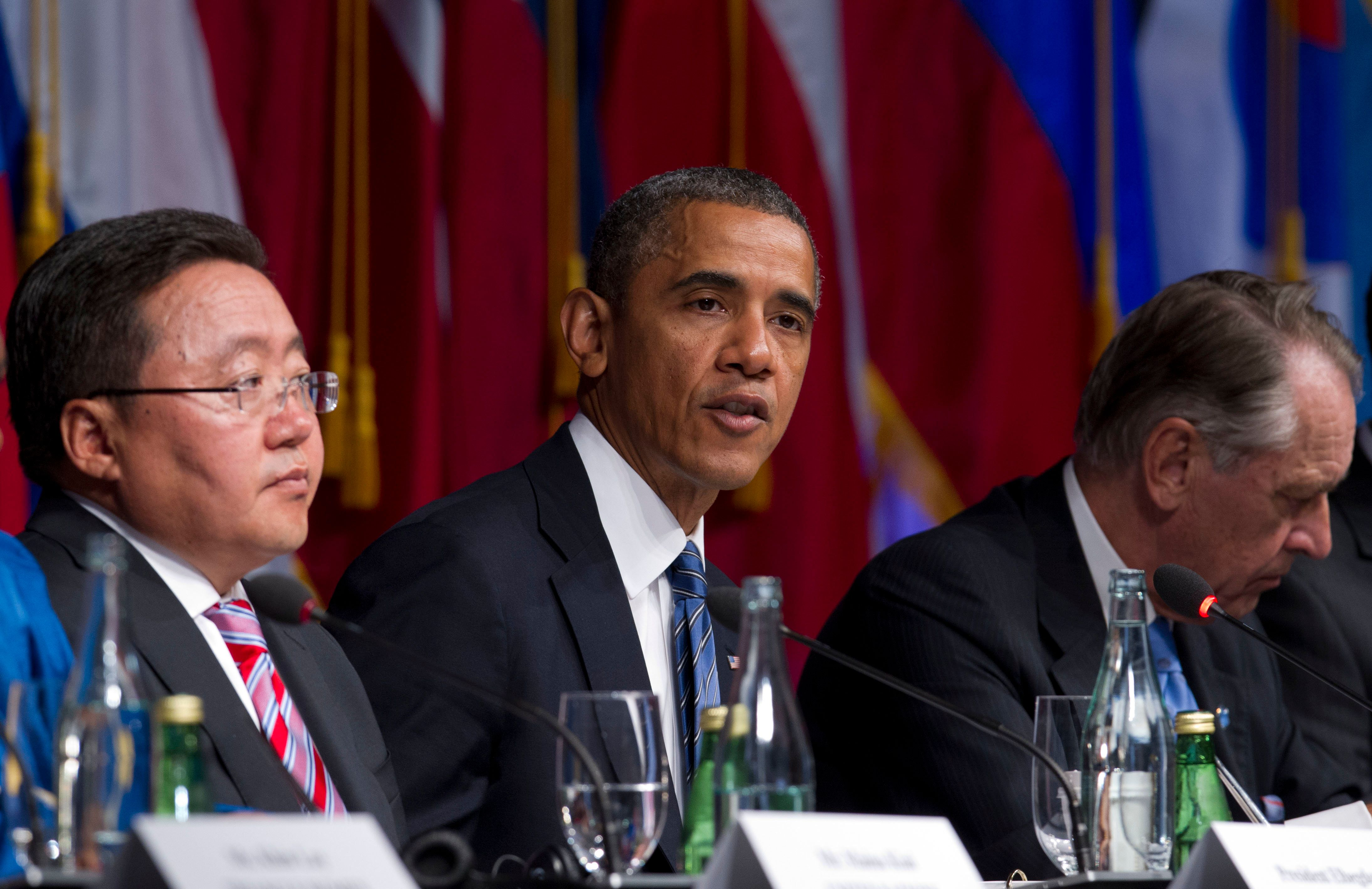 NEW YORK, NY - SEPTEMBER 23: (AFP OUT) U.S. President Barack Obama speaks during the International Civil Society event on September 23, 2013 in New York City. Both Obama and Jonathan expressed condolences to Kenya for the attacks in a Nairobi mall with Obama saying it was 'terrible outrage' and said the United States was providing all the cooperation it could to Kenya. Both are in town for the United Nations General Assembly. (Photo by Jin Lee-Pool/Getty Images)