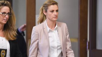NASHVILLE, TN - MARCH 01:  Erin Andrews heads back to the courtroom after a short recess on March 1, 2016 in Nashville, Tennessee. Andrews is suing her stalker and the owner and operator of the Marriott at Vanderbilt for $75 million after a nude video was taken of her while at the hotel chain. (Photo by Erika Goldring/Getty Images)