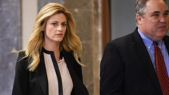 NASHVILLE, TN - MARCH 03:  (L-R) Sportscaster and television personality Erin Andrews and attorney Scott Carr enter the courtroom for closing remarks on March 4, 2016 in Nashville, Tennessee.  Andrews is taking legal action against the operator of the Nashville Marriott at Vanderbilt University, where she was staying while covering a football game for ESPN, for invasion of privacy in a USD 75 million dollar suit after a man at the hotel took a nude video of her through her hotel room door peep hole in 2008.  (Photo by Erika Goldring/Getty Images)