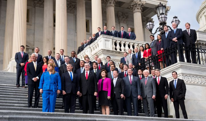 The freshman class of the 115th Congress poses for a group photo on Tuesday, Nov. 15, 2016.