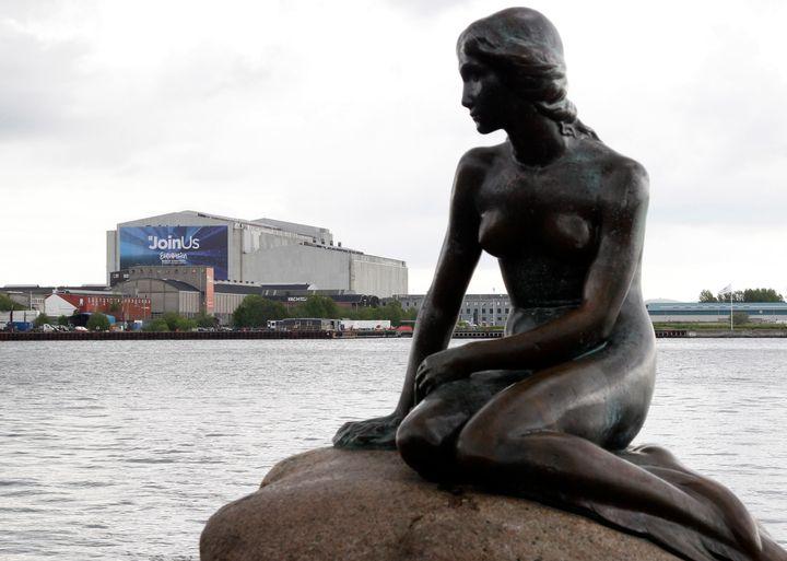"""Copenhagen's landmark sculpture, """"Little Mermaid,"""" is seen."""