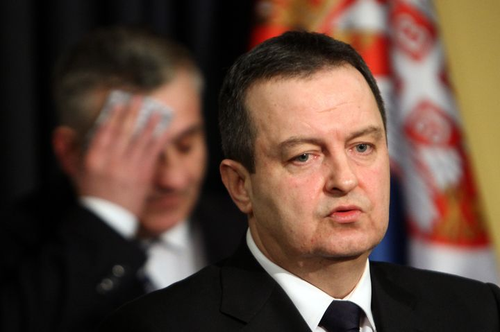 Serbian Foreign Minister Ivica Dacic addresses a press conference in Belgrade on Feb. 20, 2016.