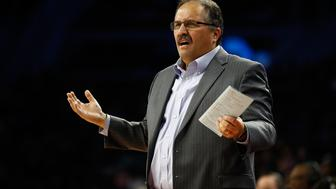 AUBURN HILLS, MI - NOVEMBER 21: Head coach Stan Van Gundy of the Detroit Pistons reacts on the bench while playing the Houston Rockets at the Palace of Auburn Hills on November 21, 2016 in Auburn Hills, Michigan. Houston won the game 99-96. NOTE TO USER: User expressly acknowledges and agrees that, by downloading and or using this photograph, User is consenting to the terms and conditions of the Getty Images License Agreement.  (Photo by Gregory Shamus/Getty Images)