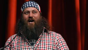 LAS VEGAS, NV - JANUARY 21:  Television personality Willie Robertson from the show 'Duck Dynasty' introduces Republican presidential candidate Donald Trump at the Outdoor Channel and Sportsman Channel's 16th annual Outdoor Sportsman Awards at The Venetian Las Vegas during the 2016 National Shooting Sports Foundation's Shooting, Hunting, Outdoor Trade (SHOT) Show on January 21, 2016 in Las Vegas, Nevada. The SHOT Show, the world's largest annual trade show for shooting, hunting and law enforcement professionals, runs through January 23 and features 1,600 exhibitors showing off their latest products and services to more than 62,000 attendees.  (Photo by Ethan Miller/Getty Images)
