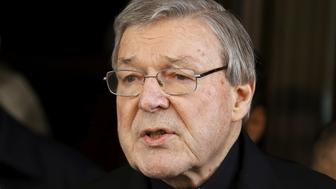 Australian Cardinal George Pell speaks to journalists at the end of a meeting with the sex abuse victims at the Quirinale hotel in Rome, Italy, March 3, 2016. REUTERS/Alessandro Bianchi/File Photo