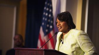 """Rev. Bernice King, CEO of The King Center and daughter of Rev. Martin Luther King Jr, speaks during an """"I Have a Dream"""" gospel brunch at the Willard InterContinental Hotel in Washington, August 25, 2013. The King Center and the Willard Hotel hosted the gospel brunch highlighting the music that inspired Martin Luther King during his lifetime and the """"I Have a Dream"""" speech King worked on at the Willard in August 1963. REUTERS/Mary F. Calvert (UNITED STATES - Tags: POLITICS ANNIVERSARY HEADSHOT RELIGION)"""