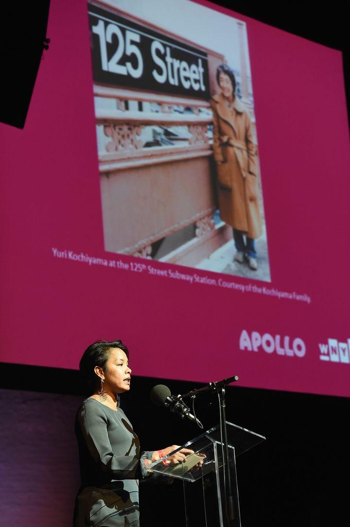 Akemi Kochiyama presents at a tribute event to her grandmother, Yuri Kochiyama.
