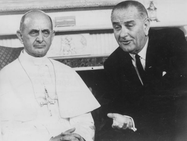 Pope Paul VI talks to U.S. President Lyndon B. Johnson during a visit to New York on October 8th 1965.