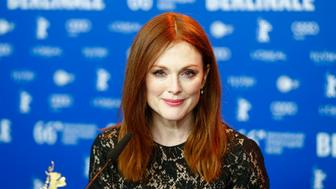 Actress Julianne Moore attends a news conference to promote the movie 'Maggie's Plan' at the 66th Berlinale International Film Festival in Berlin, Germany, February 15, 2016. REUTERS/Hannibal Hanschke