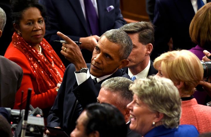 Rep. Sheila Jackson Lee just got President Obama's autograph because of her excellent seat.