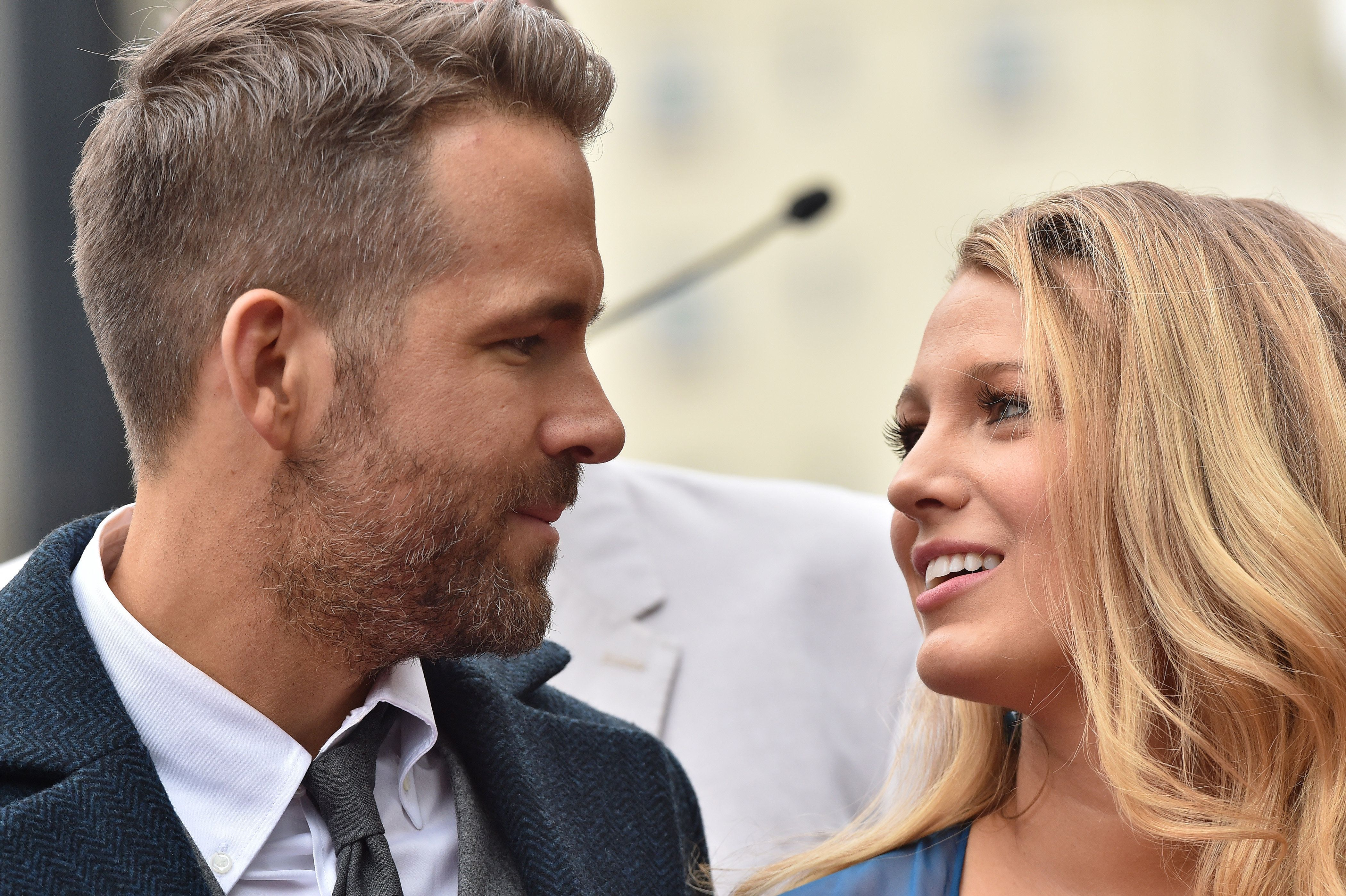 Ryan Reynolds and Blake Lively attend Reynolds' Hollywood Walk of Fame ceremony.