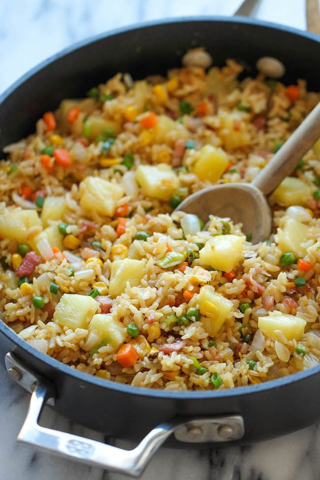 "<strong>Get the <a href=""http://damndelicious.net/2014/06/25/pineapple-fried-rice/"" target=""_blank"">Pineapple Fried Rice reci"