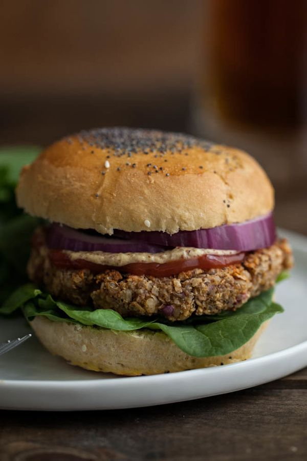 "<strong>Get the <a href=""http://naturallyella.com/2013/11/24/brown-rice-oat-and-nut-veggie-burger/"" target=""_blank"">Brown Ric"