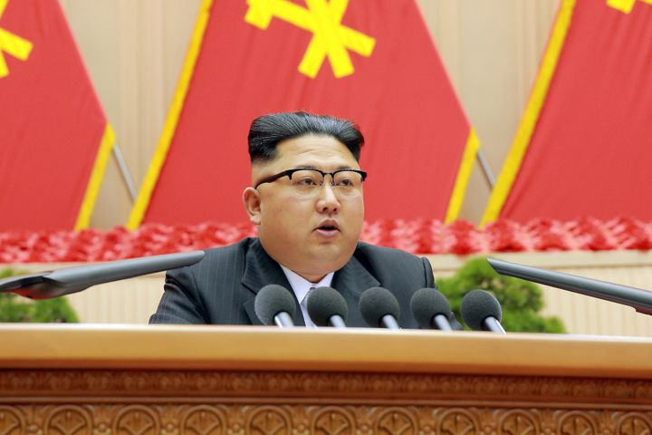 North Korean leader Kim Jong Un speaks during the first party committee meeting in Pyongyang, in this undated photo released