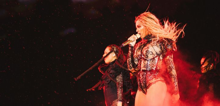 Queen Bey performing in Philadelphia during her Formation World Tour.