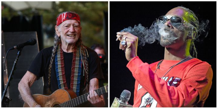Willie Nelson, left, performs in Mountain View, California. Snoop Dogg, right, performs in Louisville, Kentucky.