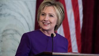 UNITED STATES - DECEMBER 08: Former Secretary of State Hillary Clinton speaks during a portrait unveiling ceremony for retiring Senate Minority Leader Harry Reid, D-Nev., in Russell Building's Kennedy Caucus Room, December 08, 2016. (Photo By Tom Williams/CQ Roll Call)