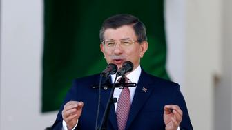 Turkish Prime Minister Ahmet Davutoglu speaks during an opening ceremony in Banja Luka, May 7, 2016. Thousands flocked to the capital of Bosnia's Serb statelet on Saturday for the reopening of a historic mosque destroyed during wartime, a ceremony seen as encouraging religious tolerance among deeply divided communities.   REUTERS/Dado Ruvic