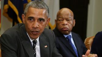 WASHINGTON, DC - FEBRUARY 18:  U.S. President Barack Obama (L) speaks about race relations while flanked by Rep. John Lewis (D-GA), in the Roosevelt Room at the White House, February 18, 2016 in Washington, DC.  President Obama met with African American faith and civil rights leaders before an event to celebrate Black History Month.  (Photo by Mark Wilson/Getty Images)