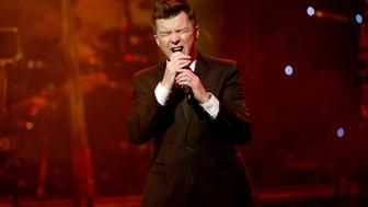 LONDON, ENGLAND - NOVEMBER 27:  Rick Astley performs on stage during The Magic of Christmas at London Palladium on November 27, 2016 in London, England.  (Photo by Luca V. Teuchmann/Getty Images)