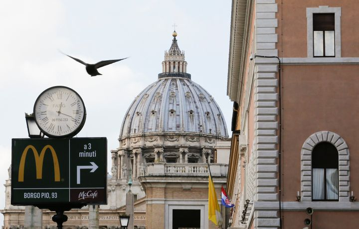 A McDonald's sign is seen at Via della Conciliazione street in Rome, Italy in front of Vatican City's St. Peter's Square Janu