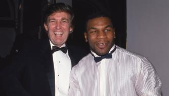 NEW YORK, NY - 1989:  Donald Trump and Mike Tyson attend a  March of Dimes dinner in November 1989 in New York City.  (Photo by Sonia Moskowitz/Getty Images)