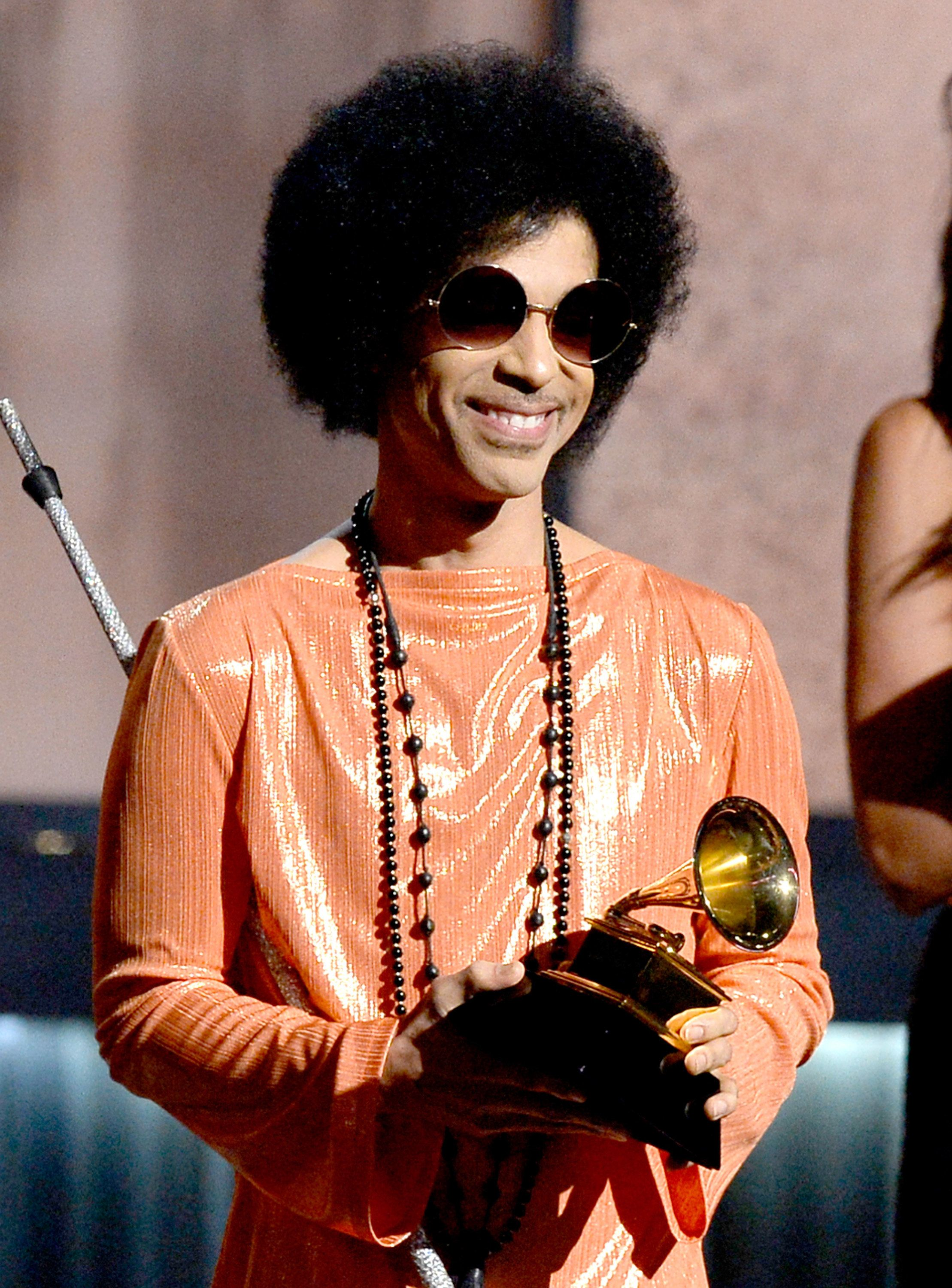 LOS ANGELES, CA - FEBRUARY 08:  Musician Prince speaks onstage during The 57th Annual GRAMMY Awards at the at the STAPLES Center on February 8, 2015 in Los Angeles, California.  (Photo by Kevork Djansezian/Getty Images)
