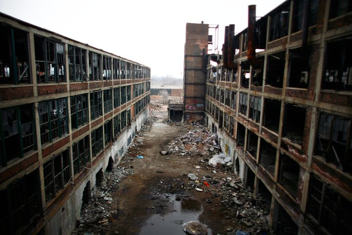 A British photography crew lost track of a tiger at Detroit's abandoned Packard Plant, seen here in a 2011 file photo.