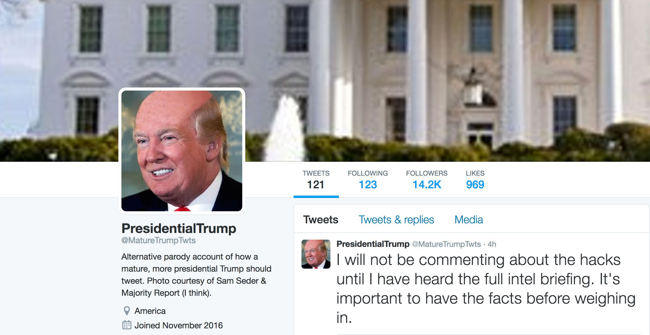 Twitter's @MatureTrumpTwts Is The Grown-Up Trump We Probably Won't