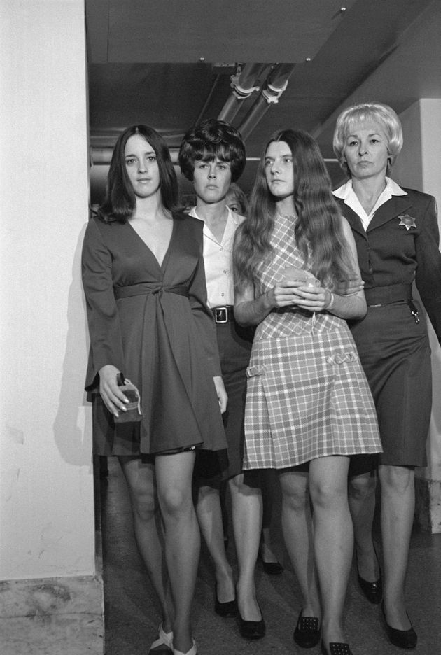 Susan Denise Atkins, left, and Patricia Krenwinkel, second from