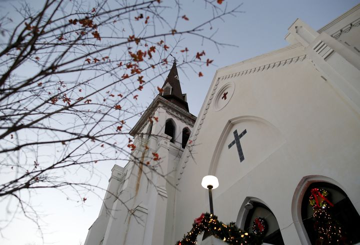 Christmas decorations and a small tree frame the Mother Emanuel AME Church after the federal trial of Dylann Roof who was fou