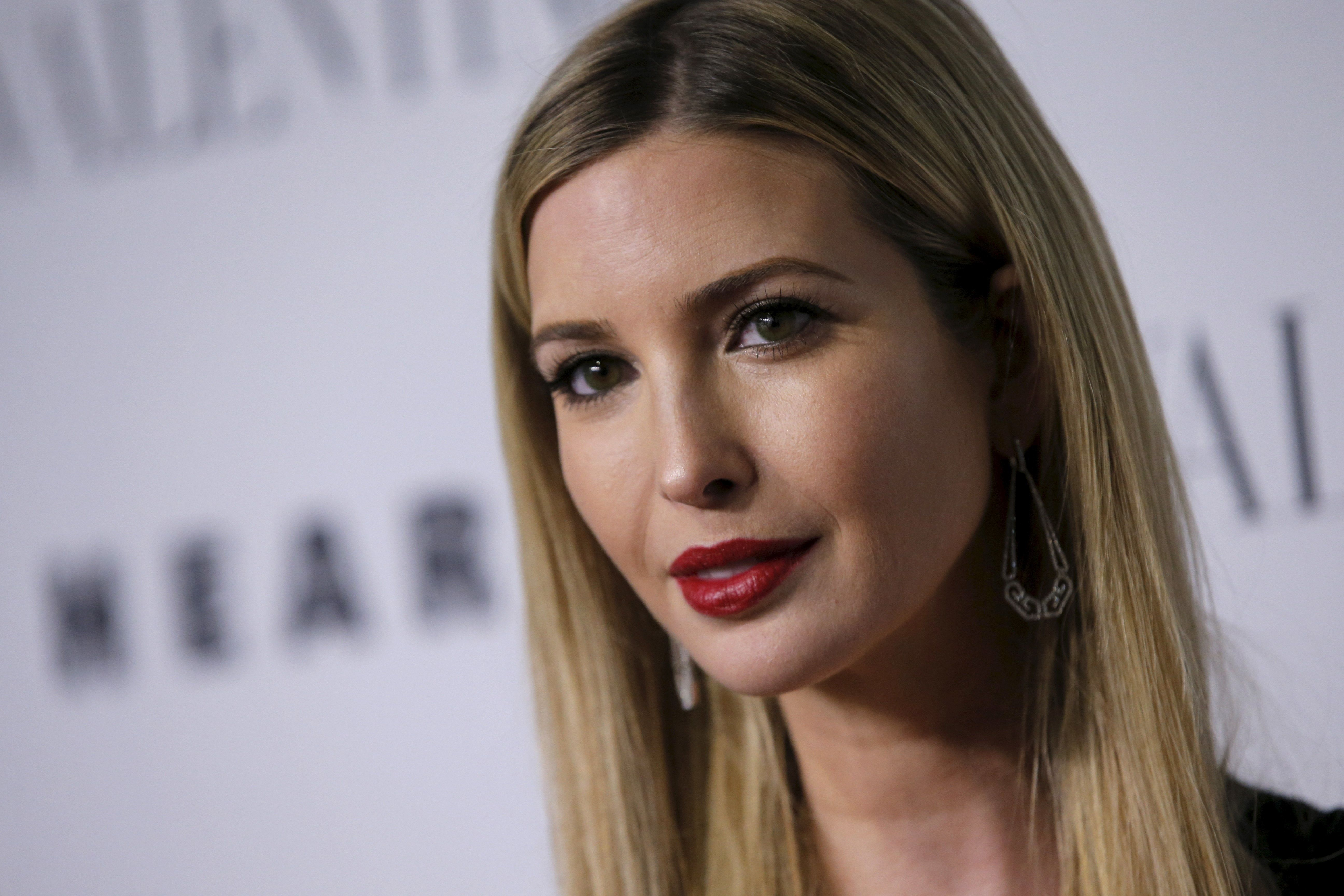 """Ivanka Trump poses as she arrives for the """"An Evening Honoring Valentino"""" gala benefiting the Lincoln Center Corporate Fund at Alice Tully Hall at Lincoln Center in the Manhattan borough of New York City, December 7, 2015. The event honored Valentino creative directors Maria Grazia Chiuri and Pierpaolo Piccioli.  REUTERS/Mike Segar"""