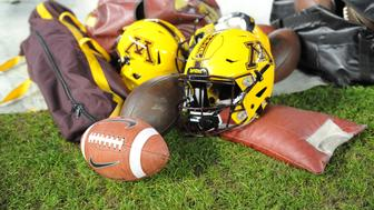 SAN DIEGO, CA - DECEMBER 27:  Nike NCAA Football and Minnesota helmets during the National Funding Holiday Bowl football game between the Minnesota Golden Gophers and the Washington State Cougars on December 27, 2016 at Qualcomm Stadium in San Diego, California. Minnesota defeated Washington State 17-12.  (Photo by Tom Walko/Icon Sportswire via Getty Images)